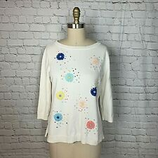 Talbots Womens Sweater Ivory Embroidered Floral 3/4 Sleeve Size Medium Petite MP