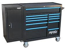 SP Tools Roller Cab Blk/Blu Custom 11 Drawer + Side Cabinet