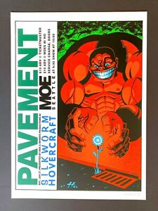Original 1995 Pavement silkscreen poster SIGNED & NUMBERED by Justin Hampton