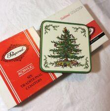 12 Vtg Spode Pimpernel Christmas Tree Square Coasters Cork Back England 2 SETS