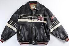 AVIREX Vintage Black Leather Jacket Bomber Varsity XXL 2XL