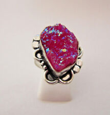 925 Sterling Silver Ring With Pink Titanium Druzy UK N 1/2, US 7 (rg2584)