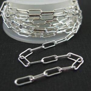 STERLING SILVER BULK CHAIN-Rectangle Link, Silver Bulk Chain - 2.5X6.5mm