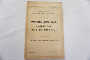 1955 Western Region Railway Working Timetable Section C Exeter District