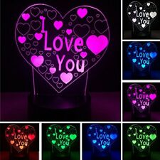 I LOVE YOU ACRYLIC 3D NIGHT LIGHT TOUCH SWITCH DESK LED LAMP COLOUR CHANGING USB