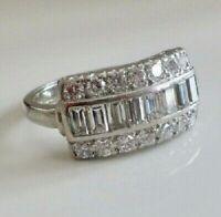 Vintage Art Deco Engagement Ring 3Ct Baguette& Round Diamond 14K White Gold Over
