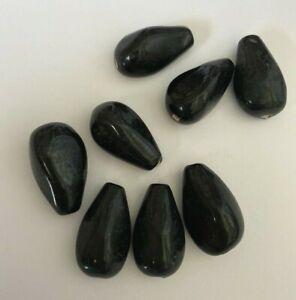 8 BLACK TEAR DROP GLASS LAMP WORK BEADS - approx 22mm DIY Jewelry making