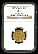FRANCE 1897 A LUCKY ANGEL GOLD COIN 20 FRANCS NGC CERTIFIED MS 64 FABULOUS