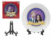 "Prince Harry & Meghan 2018 Royal Wedding Ceramic 8"" China Plate & Stand Gift New"