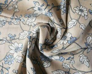 Half metre-Beige floral Linen mix Fabric -137cm wide, quality dress fabric--