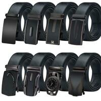 Black Mens Belts Genuine Leather Straps Alloy Automatic Buckle Ratchet Waistband
