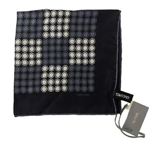 NWT Auth TOM FORD Colorblock Print 100% Silk Pocket Square Handkerchief $190