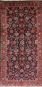 Vintage All-Over Floral Runner Rug Wool Oriental Traditional Hand-Knotted 5 x 11