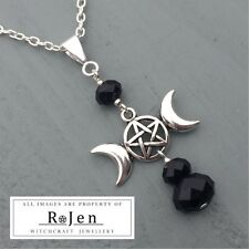 Triple Moon Pentagram Goddess Faceted Black Glass Beaded Pendant Wicca Pagan