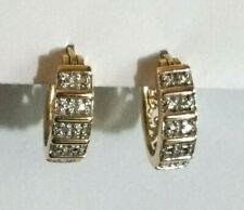 """Gold Sterling Silver Diamond Earrings Hoop Huggie .02 Carats GP 925 .60"""" 4g #588"""