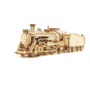 DIY wooden children toy 3D puzzle luxury steam train assembly model machinery