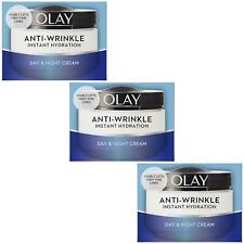 3 Olay AntiWrinkle Instant Hydration Moisturiser Day Cream Reduce Puffiness 50ml
