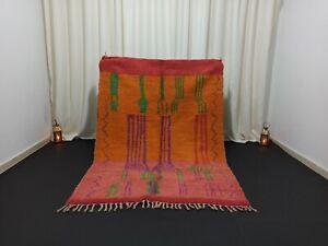 "Berber Vintage Boujad Moroccan Rug 4'7"" x 6'5"" Ft Handmade Pink Orange Green Rug"