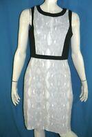 CALVIN KLEIN Taille 42  Superbe robe doublée blanc gris noir dress kleid