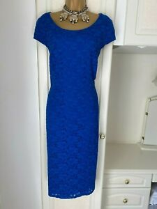 Colbroke By Windsmoor Size Uk 20 Lined Colbolt Blue Cotton Blend Dress Bust 46""