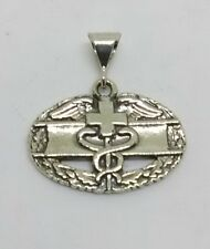 Sterling Silver Army Combat Medical Badge Pendant Charm Mini size