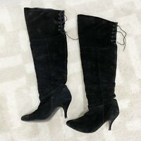 Steve Madden Betra Black Leather suede made in Spain Heel Tall boots Sz 7