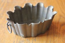 Vintage Brass candy Dish Small bowl planter scalloped edge with ring handles