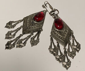 Vintage Gypsy Style Clip On Silvertone Dangle Earrings Red Faux Stone Accent