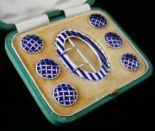 More details for cased sterling silver enamel belt buckle & button set, levi & salaman 1908