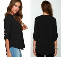 Ladies Black V Neck Polyester Top Long Sleeve Loose Casual T Shirt Blouse 8-16