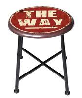Sgabello tondo bar pub design industrial vintage con scritta THE WAY HLHT17829
