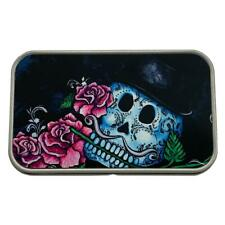 Top Hat Sugar Skull and Roses Rectangle Metal Tin Storage Container Stash Box