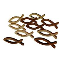 100x Natural Unfinished Wooden Fish Cutout Shape Wood Pieces for Art Craft