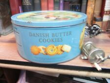 "Vintage TIN DANISH BUTTER COOKIES 10"" X 6"" 4 LB SIZE Girl cat Denmark EMPTY CAN"