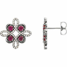 Rubino & 1/4 ct. tw. Orecchini di diamanti in platino