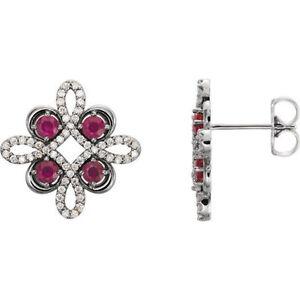 Ruby & 1/4 ct. tw. Diamond Earrings In Platinum