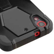 For HTC Desire 626 626S -HARD&SOFT RUBBER HYBRID DUAL LAYER CASE BLACK KICKSTAND