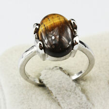 Tiger Eye Gemstone Fashion  Jewelry 925 Silver Men Women Ring Size 10
