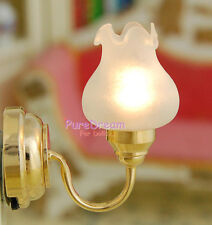 1:12 Dollhouse Miniatures Tulip flower type wall lamp LED light Battery Operated