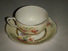 VINTAGE JOHNSON BROS ENGLAND PAREEK CUP & SAUCER FORMAL BAND MULTICOLOR FLOWERS