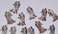 40 Silver Bride and Groom Die Cut Metallic Foil/Scrapbook Confetti Paper Punchie