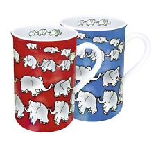 2 Kaffeetassen Könitz Porzellan Elefantenkette rot blau 2x 300ml Tasse