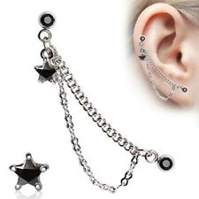 "1 - 16 Gauge 5/16"" Star Double Chained Cartilage Ring Dangling Stud Earring A83"