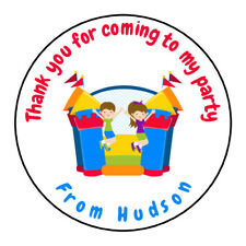Personalised Bouncy Castle Birthday Thank You Party Stickers Sweet Cones