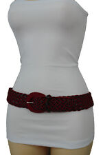 New Women Casual Fashion Red Black Braided Belt Hip Waist Faux Leather Size S M