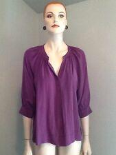 La Fee Verte Antropologie Purple Silk 3/4 Sleeve Blouse NWOTS $178 SZ Small