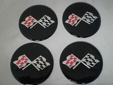 "CORVETTE STYLE Black CROSSED FLAG Wheel Center Cap STICKER EMBLEM 2 1/2"" Set"
