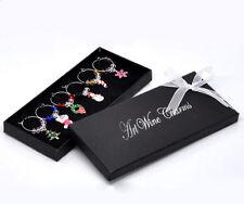 1 Box 6 Charm Pendants Enamel Christmas Wine Glass Decoration Xmas Gift Set