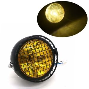 Yellow Grill Motorcycle Headlight Head Light Lamp Bobber Old School Cafe Racer