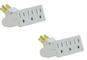 2 Pack TWO of 3 Outlet Swivel Electrical Power Grounded Wall Socket Taps Adapter